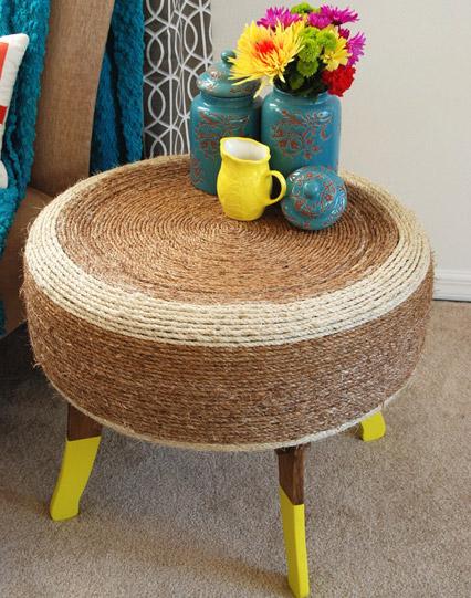 mesa de apoyo y asiento con neum tico reciclado ideas